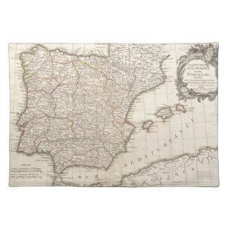Mapa del vintage de España (1775) Mantel Individual