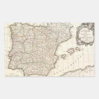 Mapa del vintage de España (1775) Pegatina Rectangular