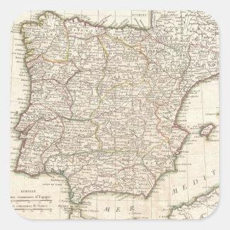 Mapa del vintage de España (1775) Pegatina Cuadrada