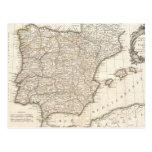 Mapa del vintage de España (1775) Postal