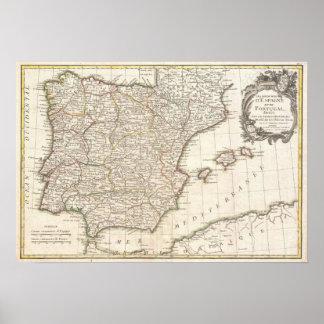 Mapa del vintage de España (1775) Póster