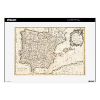 Mapa del vintage de España (1775) Calcomanías Para Portátiles