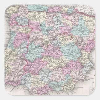 Mapa del vintage de España (1855) Pegatina Cuadrada