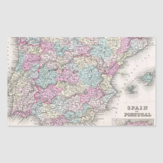 Mapa del vintage de España (1855) Pegatina Rectangular