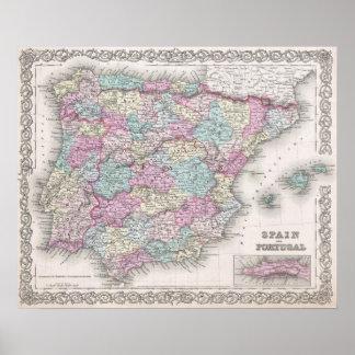 Mapa del vintage de España (1855) Póster
