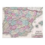 Mapa del vintage de España (1855) Tarjeta Postal