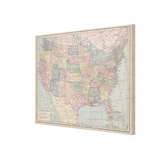 Mapa del vintage de Estados Unidos en lona Lona Envuelta Para Galerias