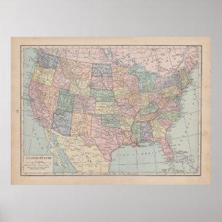 Mapa del vintage de Estados Unidos Póster