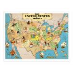 Mapa del vintage de Estados Unidos Tarjetas Postales