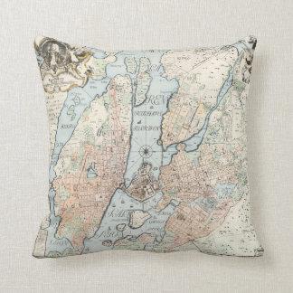Mapa del vintage de Estocolmo 1733 Cojines