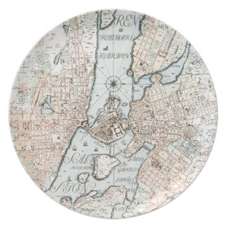 Mapa del vintage de Estocolmo (1733) Plato