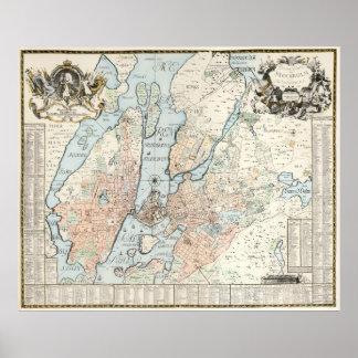 Mapa del vintage de Estocolmo (1733) Póster