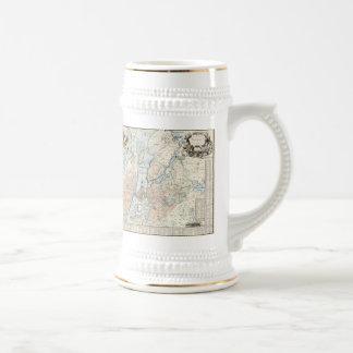 Mapa del vintage de Estocolmo 1733 Tazas