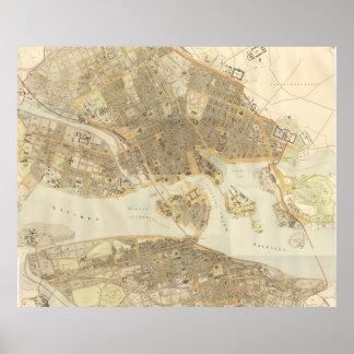 Mapa del vintage de Estocolmo (1899) Póster