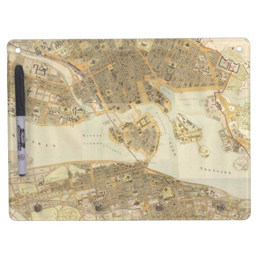 Mapa del vintage de Estocolmo (1899) Tablero Blanco