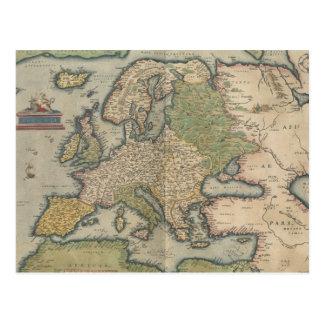 Mapa del vintage de Europa (1570) Tarjeta Postal