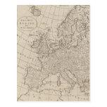Mapa del vintage de Europa (1800) Postal