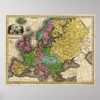 Mapa del vintage de Europa (1842) Póster