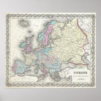 Mapa del vintage de Europa (1855) Póster