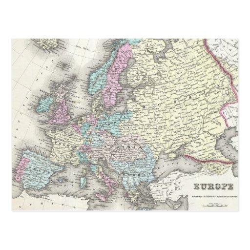 Mapa del vintage de Europa (1855) Tarjetas Postales