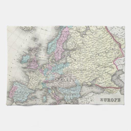 Mapa del vintage de Europa (1855) Toallas De Mano