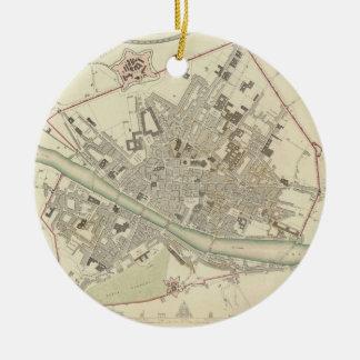 Mapa del vintage de Florencia Italia (1835) Ornamento De Navidad