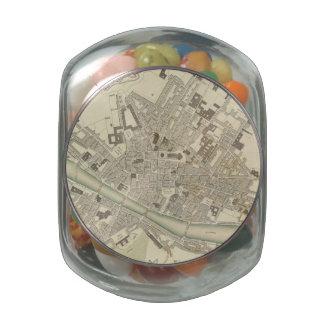 Mapa del vintage de Florencia Italia (1835) Frascos De Cristal Jelly Belly