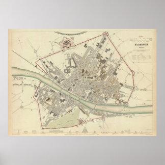 Mapa del vintage de Florencia Italia 1835 Impresiones