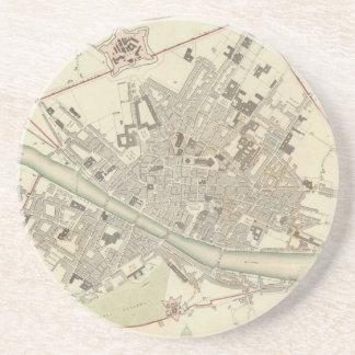 Mapa del vintage de Florencia Italia (1835) Posavasos Manualidades
