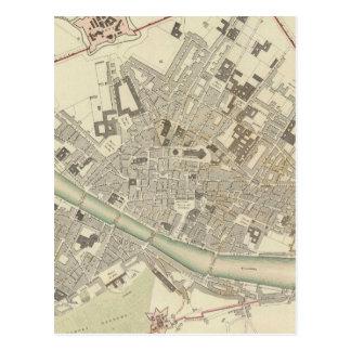 Mapa del vintage de Florencia Italia (1835) Tarjetas Postales
