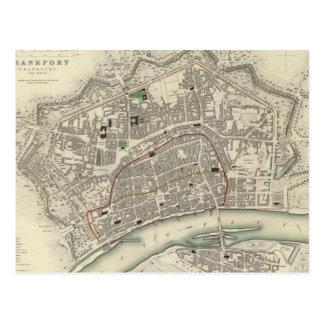 Mapa del vintage de Francfort Alemania (1837) Tarjetas Postales