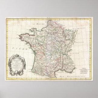 Mapa del vintage de Francia (1771) Posters