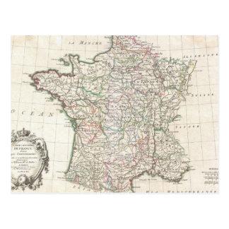 Mapa del vintage de Francia (1771) Postal