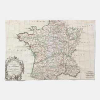 Mapa del vintage de Francia (1771) Toallas De Cocina