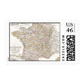 Mapa del vintage de Francia 1850