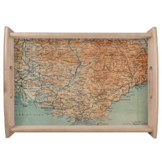 Mapa del vintage de Francia meridional (1914) Bandeja