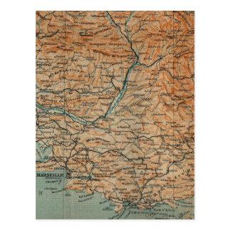 Mapa del vintage de Francia meridional (1914) Tarjetas Postales