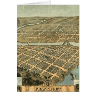 Mapa del vintage de Frankfort Kentucky Tarjeta De Felicitación
