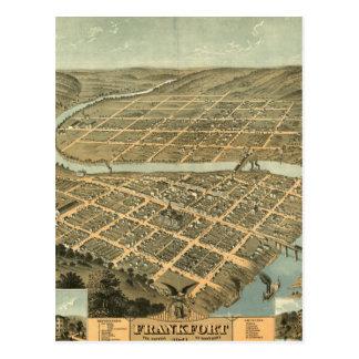 Mapa del vintage de Frankfort Kentucky Postales