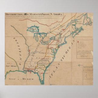 Mapa del vintage de fuerzas británicas en América Póster