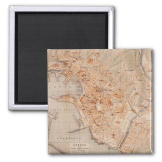 Mapa del vintage de Génova Italia (1906) Imán Cuadrado