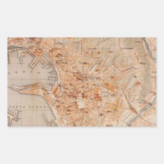 Mapa del vintage de Génova Italia (1906) Pegatina Rectangular