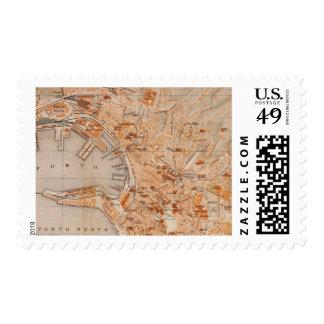 Mapa del vintage de Génova Italia (1906) Sello