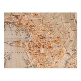 Mapa del vintage de Génova Italia (1906) Tarjetas Postales