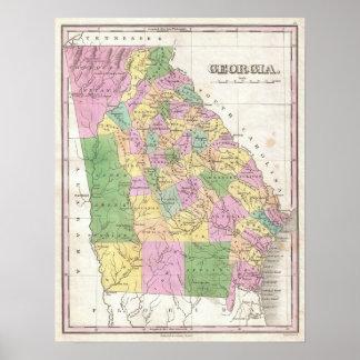 Mapa del vintage de Georgia (1827) Póster