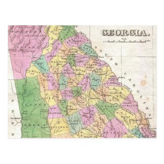 Mapa del vintage de Georgia (1827) Tarjetas Postales