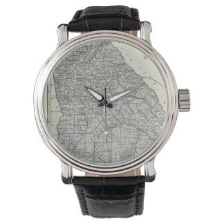 Mapa del vintage de Georgia (1845) Relojes De Pulsera
