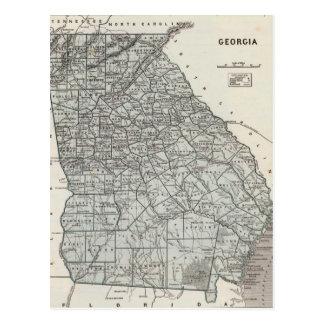 Mapa del vintage de Georgia (1845) Tarjetas Postales