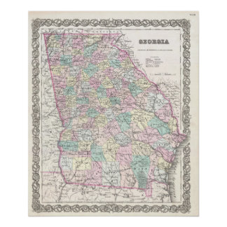 Mapa del vintage de Georgia (1855) Póster