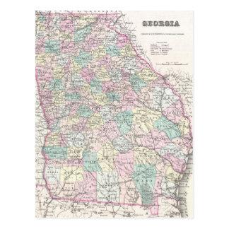 Mapa del vintage de Georgia (1855) Tarjeta Postal
